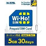 【海外SIMならWi-Ho!SIM】 ヨーロッパ 周遊 32カ国対応 5GB 30日間 4G LTE データ専用 事前設定不要 SIMピン付き 日本語24Hサポート ドイツ スペイン イタリア スイス フランス… (5GB/30日間)