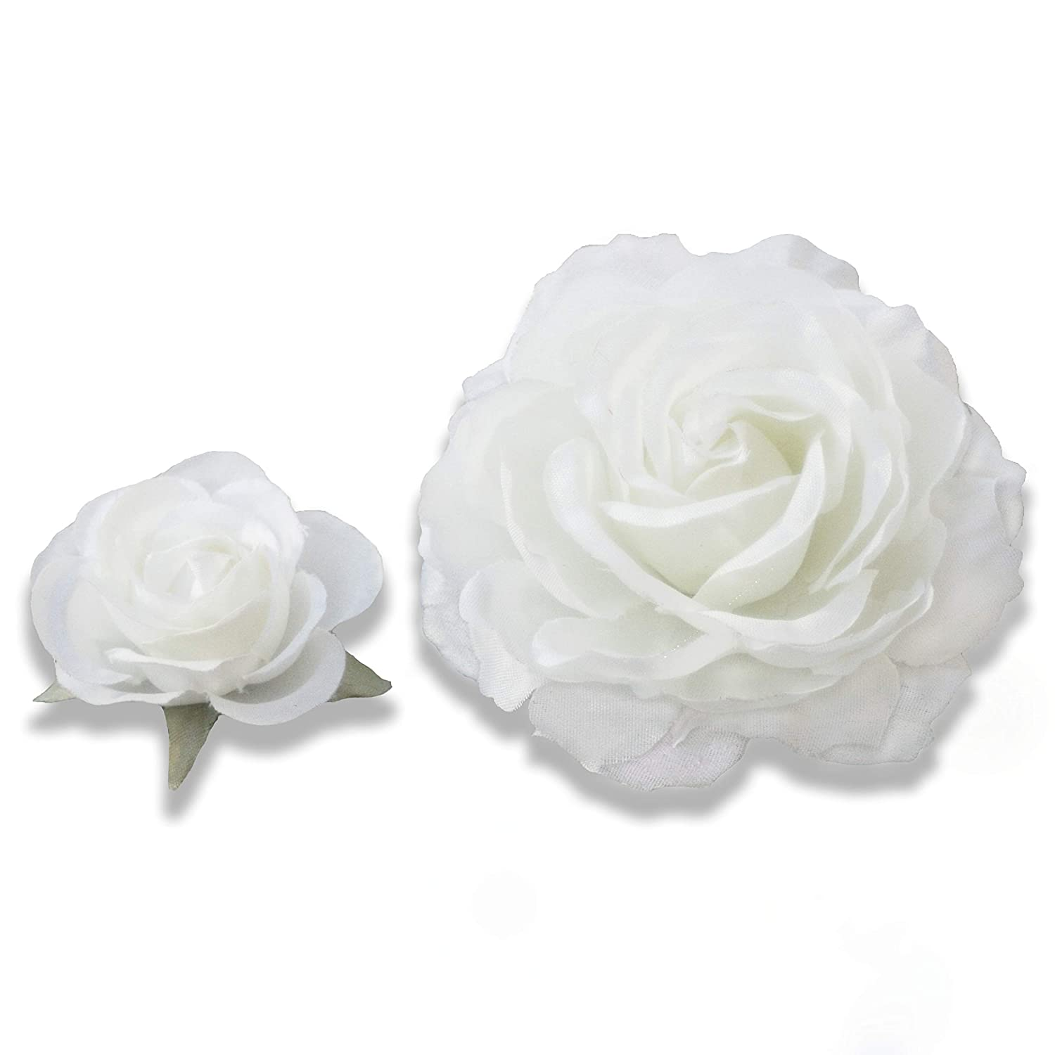 Amazon Com Pack Of Two One 4cm One 8cm White Rose Flower Hair