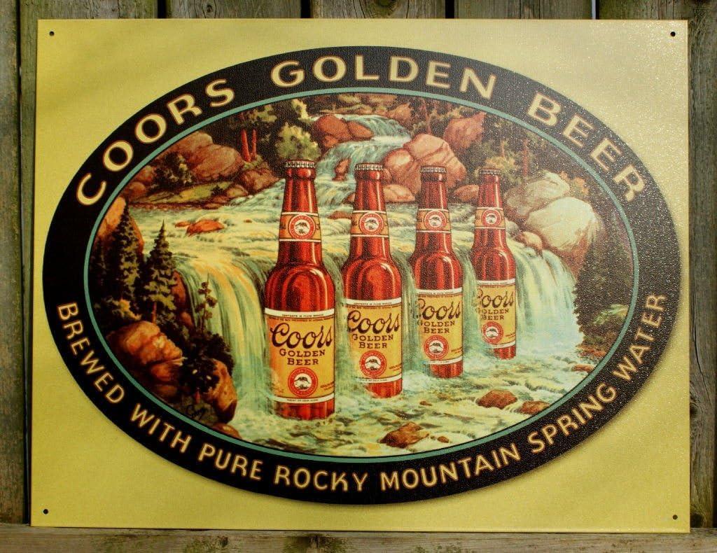 Coors Golden Beer Tin Metal Sign : Waterfall