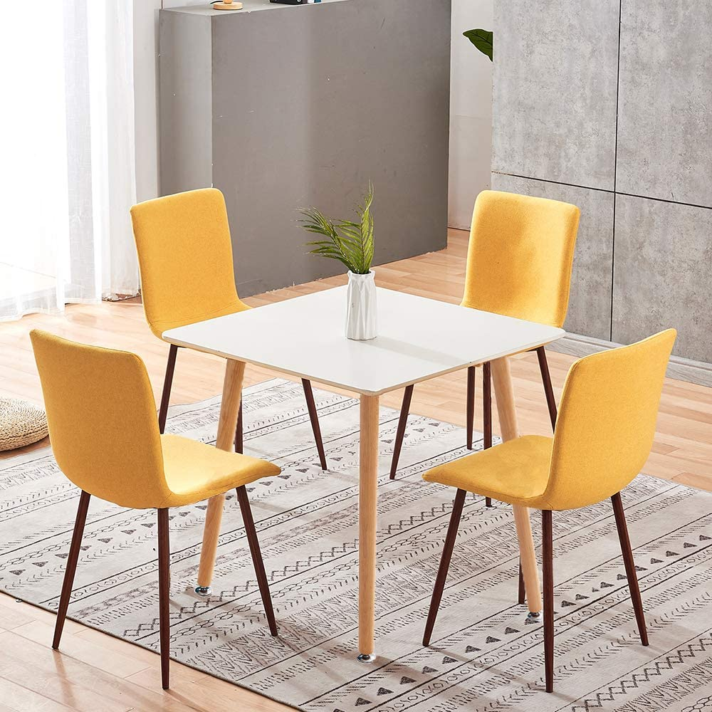 Dining Room Set For 4 Square Dining Table And 4 Yellow Fabric Dining Chairs With Metal Legs White Dining Table Set Of 4 Chairs For Kitchen Dining Room Restaurant Small Space Dinette