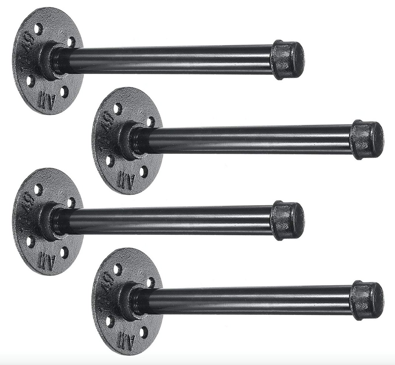 """4 Pack 10"""" Iron Pipe Shelf Mounting Brackets Industrial Black Steel Iron Straight Shelves - DIY Rustic/Chic and Vintage Decor Floating Shelves Complete Display Set ½ Inch Flange - by NODNAL Co."""