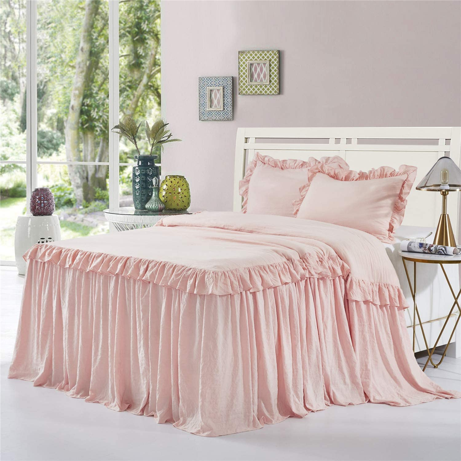 HIG 3 Piece Ruffle Skirt Bedspread Set King-Peach Pink Color 30 inches Drop Ruffled Style Bed Skirt Coverlets Bedspreads Dust Ruffles- ALINA Bedding Collections King Size-1 Bedspread, 2 Standard Shams