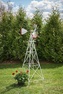 product image for 8 Ft Made in The USA Premium Aluminum Decorative Garden Windmill Green/Yellow Trim