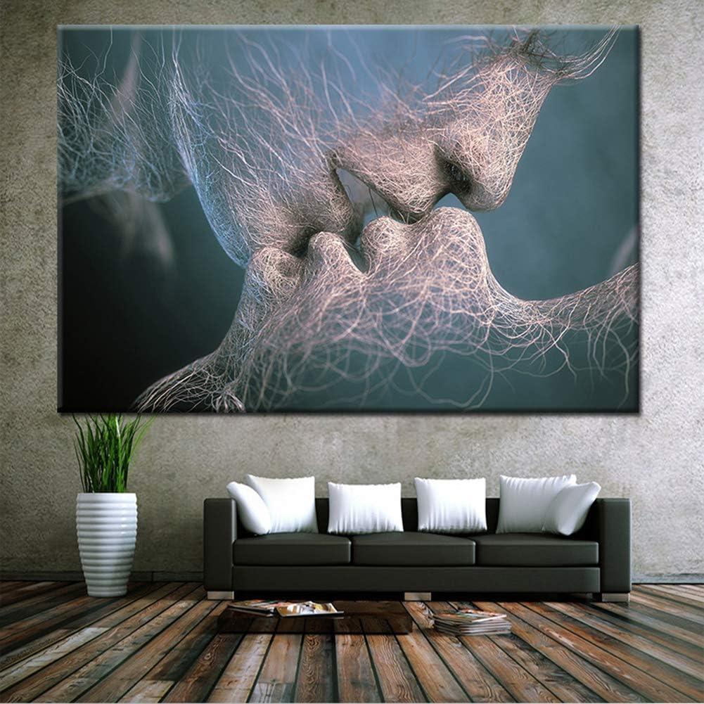 ZEMER Beso CuadrosenLienzo Sin Marcos Pareja Besándose Romántica Abstracto Decoración De Arte De Pared Giclee Imprimir Ilustraciones,B,60x100