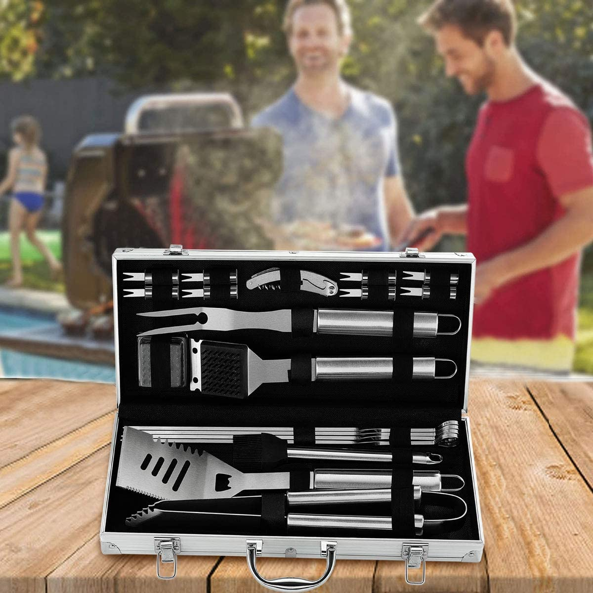 grilljoy 20PCS Heavy Duty BBQ Grill Tools Set - Extra Thick Stainless Steel Spatula, Fork& Tongs. Complete Barbecue Accessories Kit in Aluminum Storage Case - Perfect Grilling Tool Set Gift : Garden & Outdoor