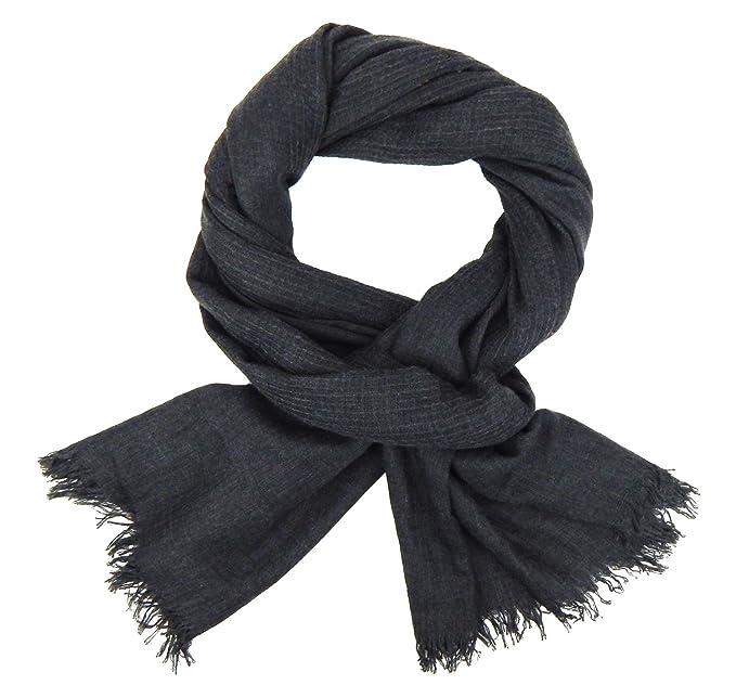 Herrenschal grau schwarz blau Ella Jonte breiter edler Schal Baumwolle Viskose
