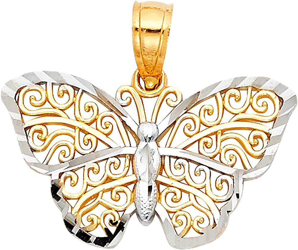 14K Two Tone Gold Fancy Monarch Butterfly Charm Pendant with 1.5mm Flat Open Wheat Chain Necklace