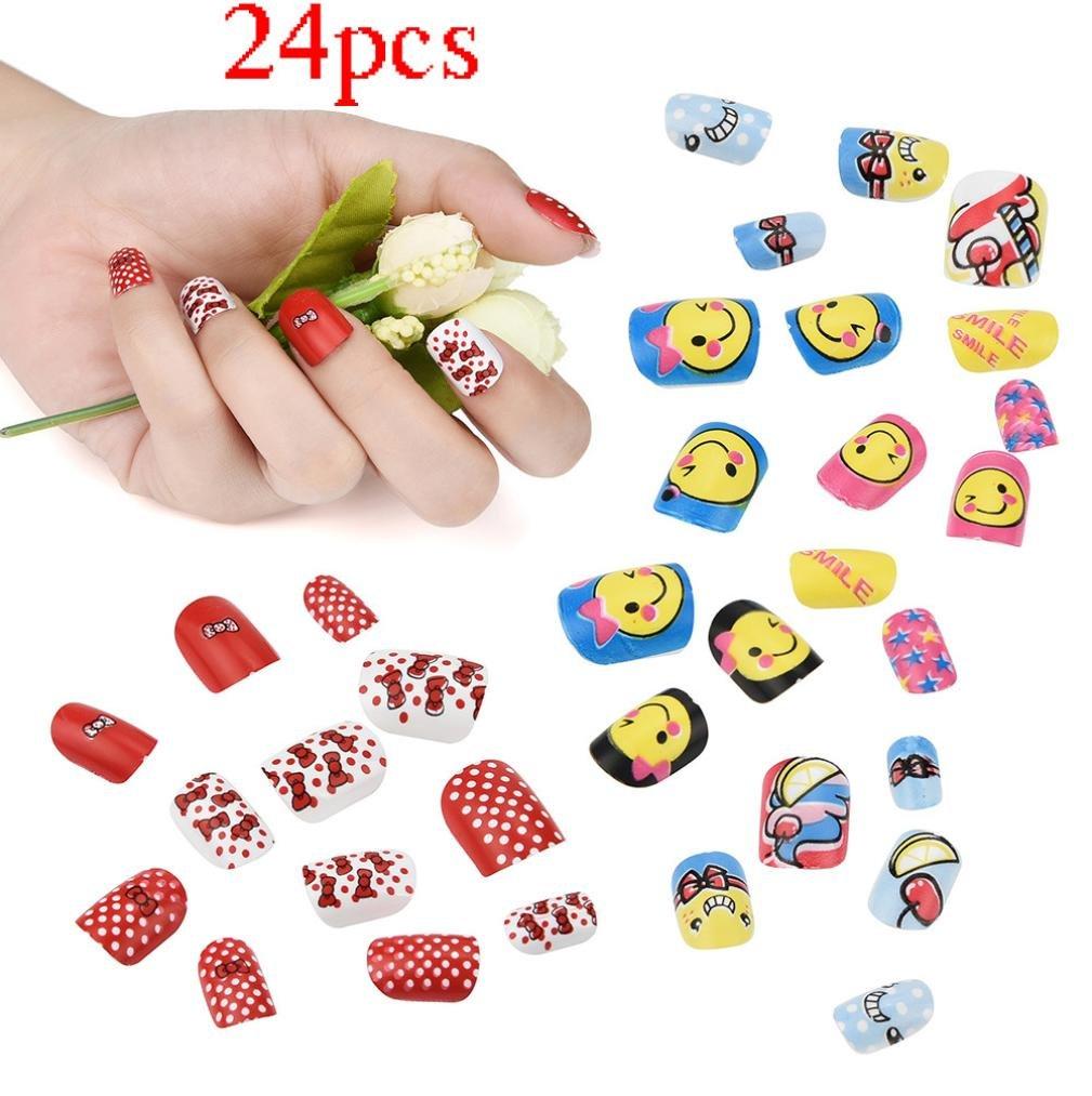 Nail Art,Putars Portable 24Pcs Kids Colored Press-on False Nails Cartoon Pattern Full Nail Pre-glue Set