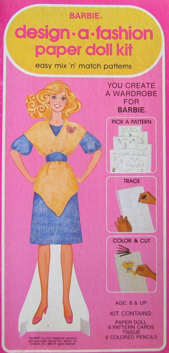 Barbie Design -A- Fashion Paper Doll Kit - Easy Mix 'N' Match Patterns (1982 Western)