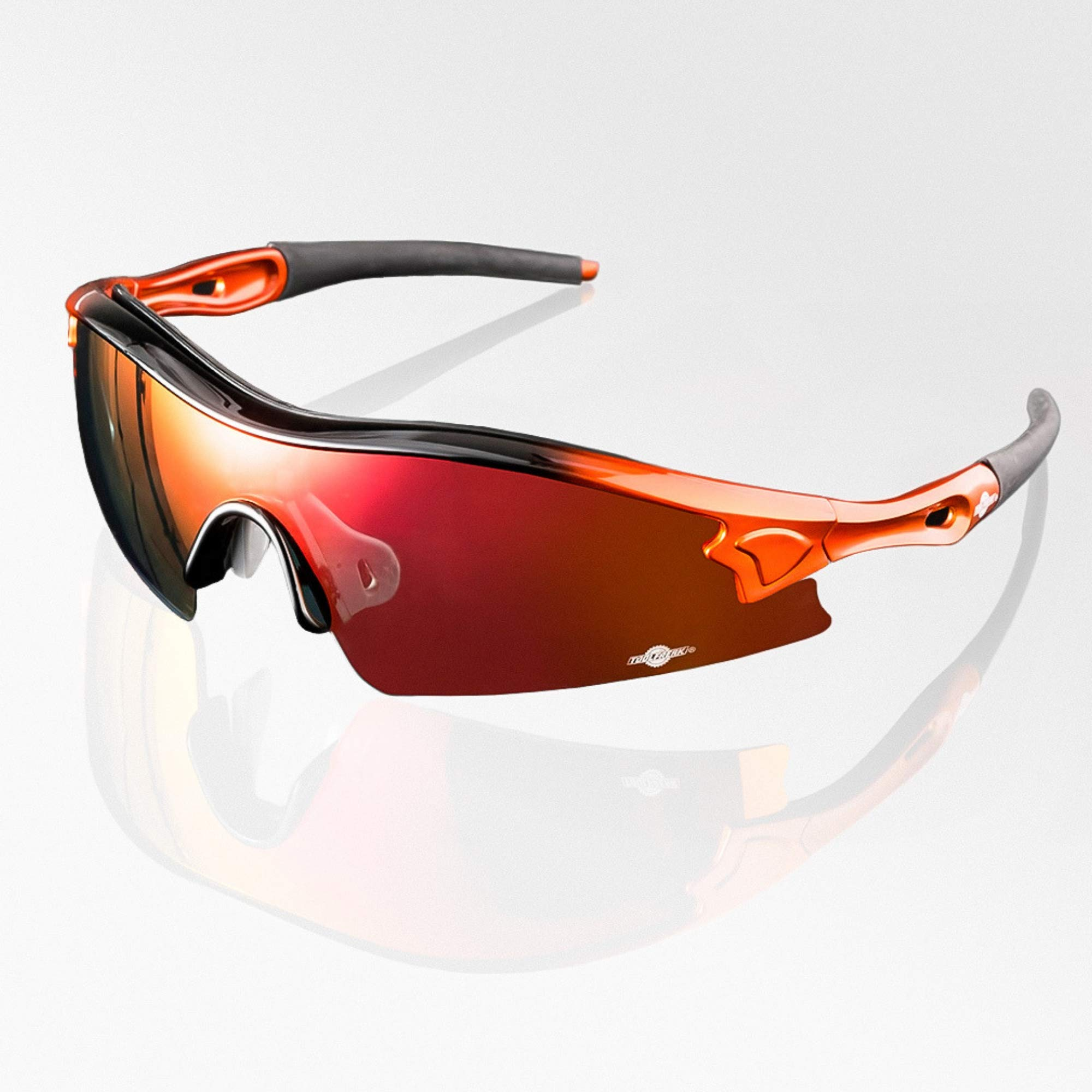 ToolFreak Reevo Safety Sunglasses for Work & Sport, Red Mirror Lens, Anti Glare, UV & Impact Eye Protection, Safety Rating to ANSI Z87+, Hard Case, Water Repellent Pouch, Neck Cord & Cloth by ToolFreak