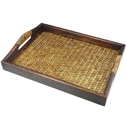 Bandeja de madera de mango y bambu, bandeja para servir, tabla de madera,