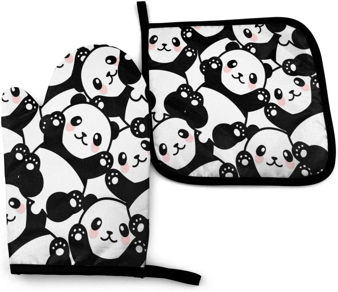 N/O Cute Pandas Heat Resistant Oven Mitts Soft Cotton Lining with Non-Slip Surface for Safe BBQ Cooking Baking Grilling in Family Or Restaurant Oven Mitt 11'' X 6.2'' and Pot Holder 8'' X 8''