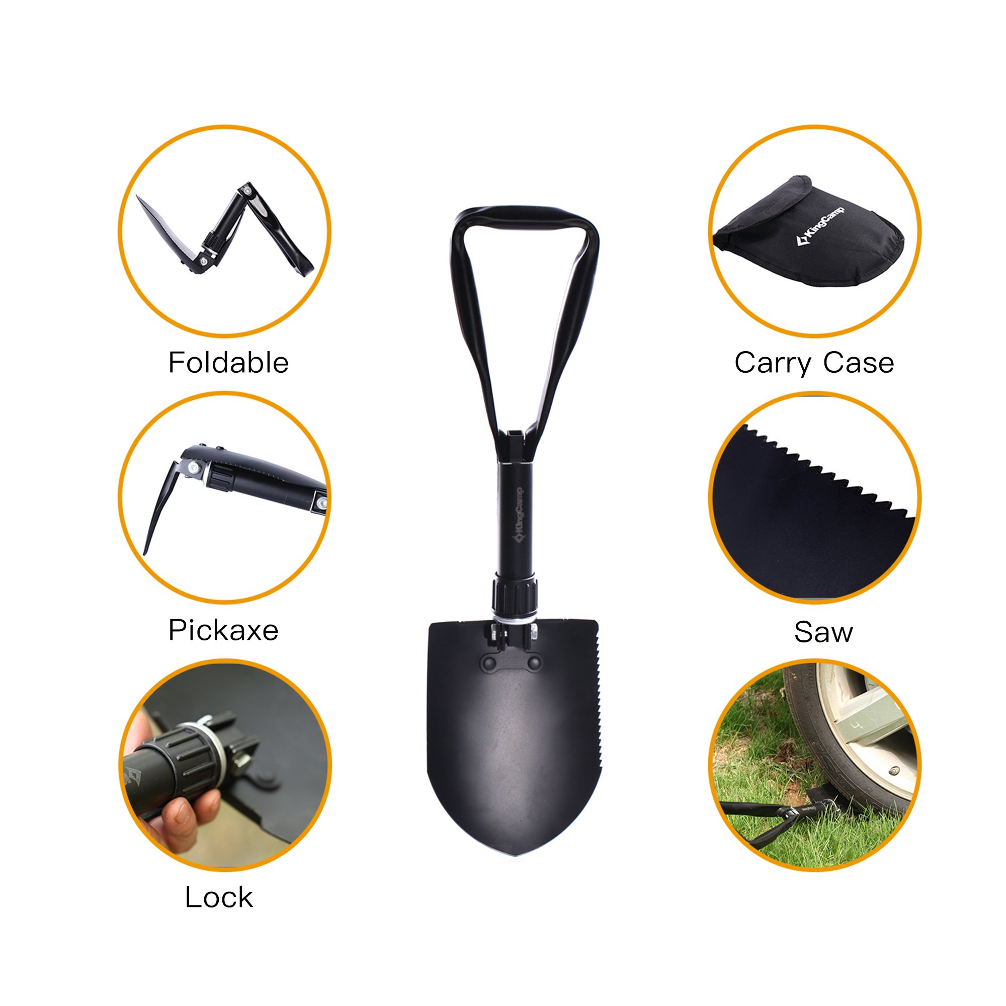 KingCamp Multifunction Portable Outdoor Folding Shovel with Pickaxe for Hiking Hunting Fishing Gardening