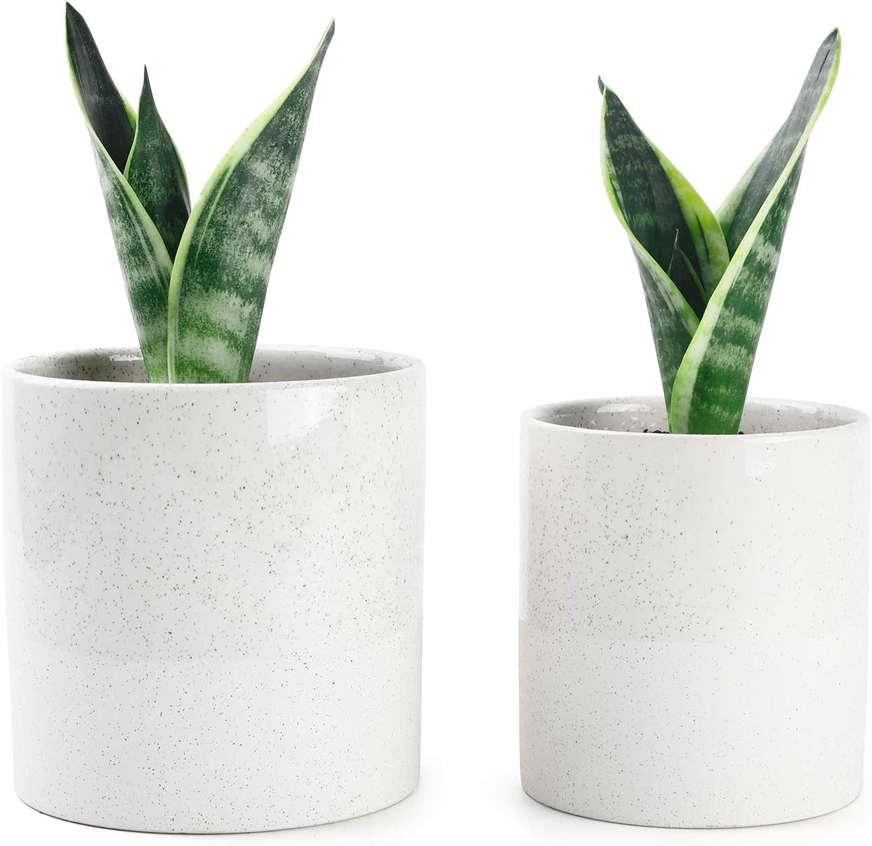 Vintage Style Beige Ceramic Pots - 5.9 and 4.7 Inch Half Glazed Planters with Drainage Holes for Indoor or Outdoor Flowers, Set of 2