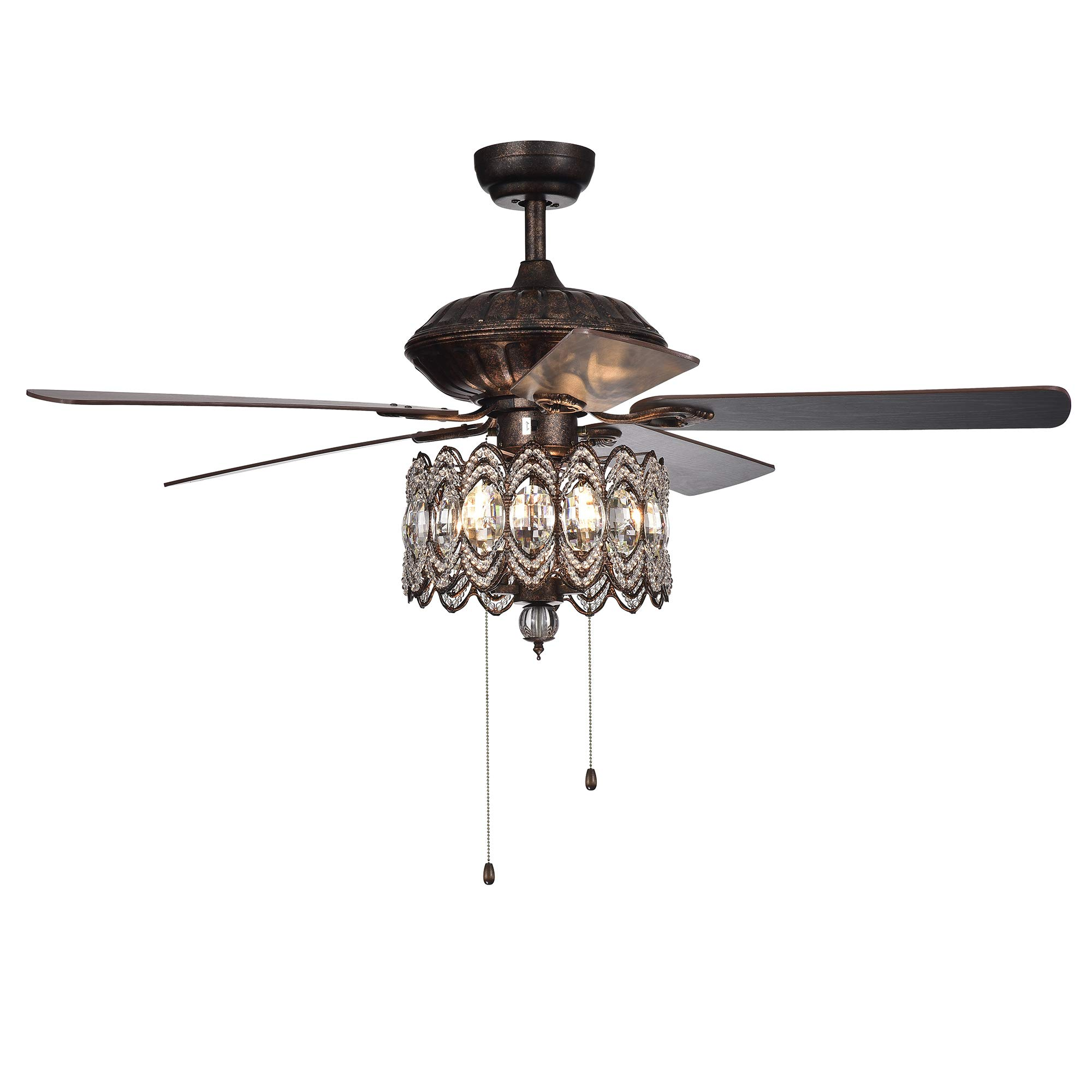 Warehouse of Tiffany CFL-8324RB Mariposa 52-inch Rustic Bronze Chandelier wtih Crystal Shade Ceiling Fan