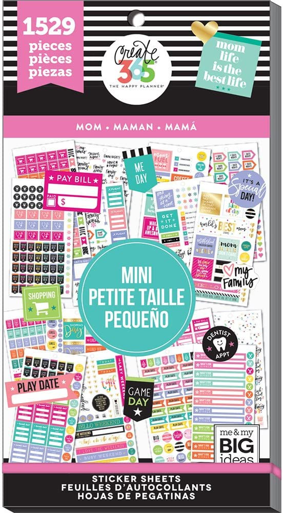 me & my BIG ideas Sticker Value Pack for Mini Planner - The Happy Planner Scrapbooking Supplies - Mom Theme - Multi-Color & Gold Foil - Great for Projects & Albums - 30 Sheets, 1529 Stickers Total