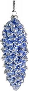"""Napa Home & Garden 5"""" Pine Cone Glass Ornament, Indigo Pearl"""