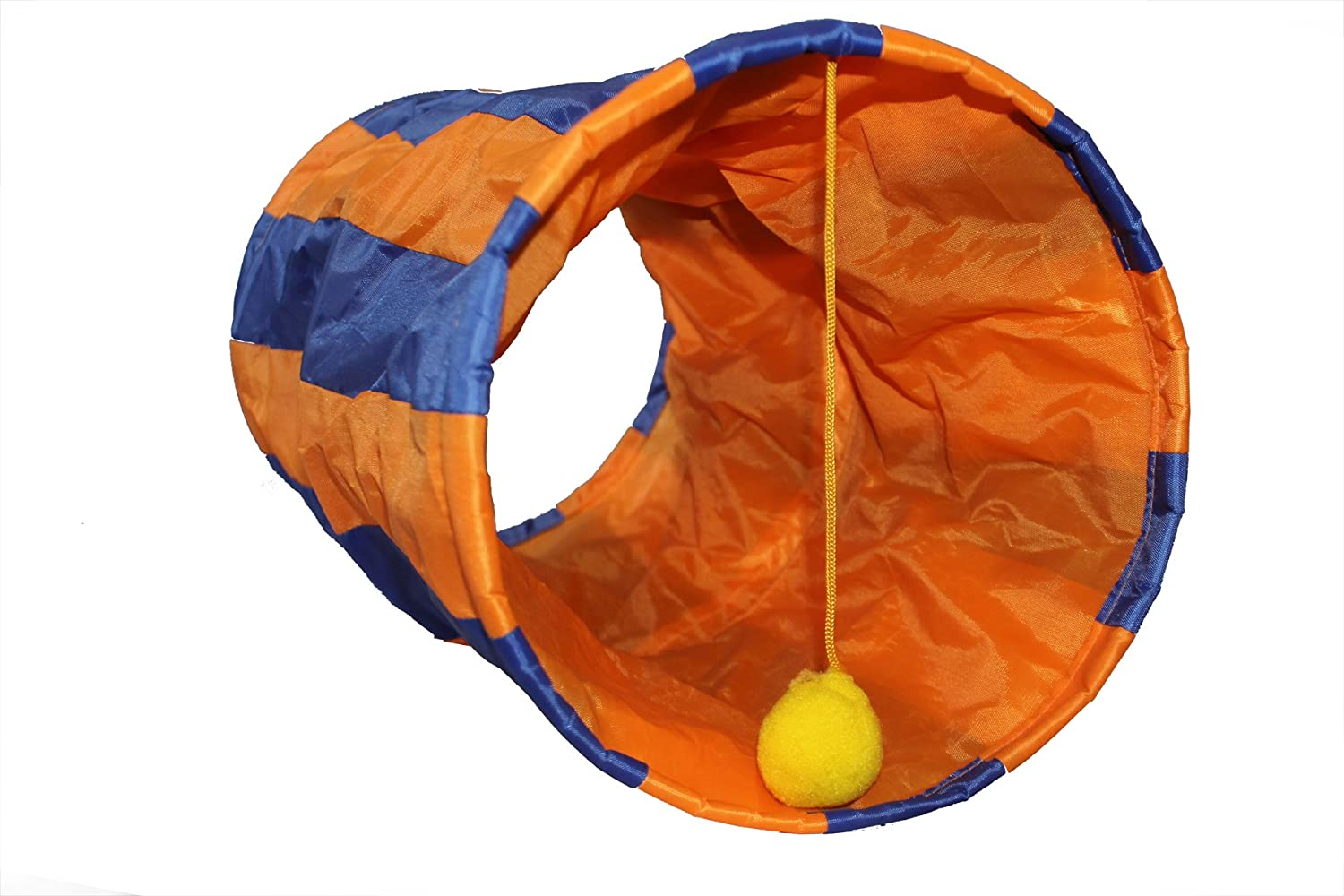 Kute Kitty Products Interactive Cat Tunnel Toy with Length Adjustable String on Ball