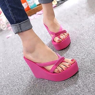 Nuevo zapatillas wedge plataforma zapatos señora zapatos zapatillas con cuña azul rosa