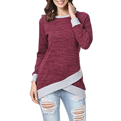 levaca Women's Long Sleeve O Neck Cross Front Hem Loose Fit Casual Tunic Tops at Women's Clothing store