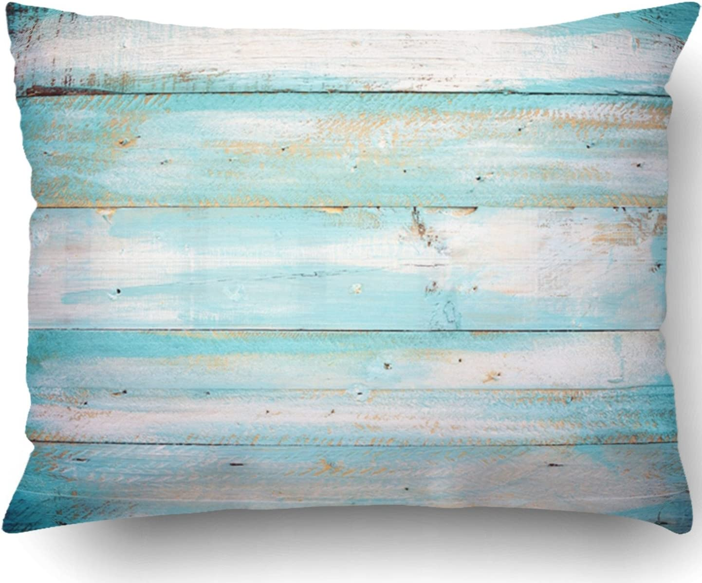 Emvency Pillow Covers Decorative Vintage Beach Wood Old Blue Color Wooden Plank Bulk With Zippered 16x16 Square Pillow Case For Home Bed Couch Sofa Car One Sided