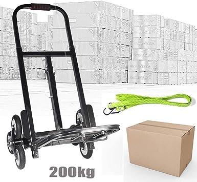 Escaleras Tranvía carretilla Escaleras carretilla hasta 200 kg plegable 6 ruedas carretilla Negro: Amazon.es: Bricolaje y herramientas