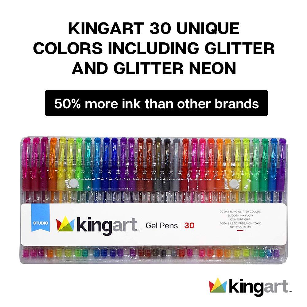 30 x KINGART Soft Grip Gel Pen Set