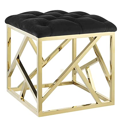 Superb Modway Intersperse Tufted Modern Ottoman With Gold Stainless Steel Geometric Frame In Gold Black Bralicious Painted Fabric Chair Ideas Braliciousco