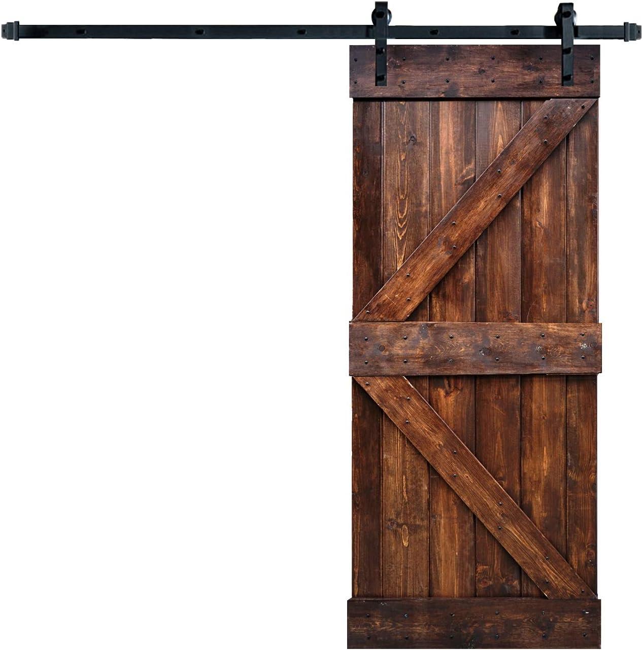 Wellhome Kit de herramientas deslizantes de 6.6 pies + puerta de madera pintada de granero de la serie K DIY (Dark Walunt): Amazon.es: Bricolaje y herramientas