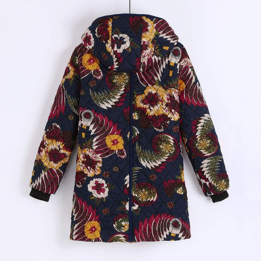 WBGZD Womens Warm Winter Coat Floral Print Oversized Long Jacket Outwear with Hood