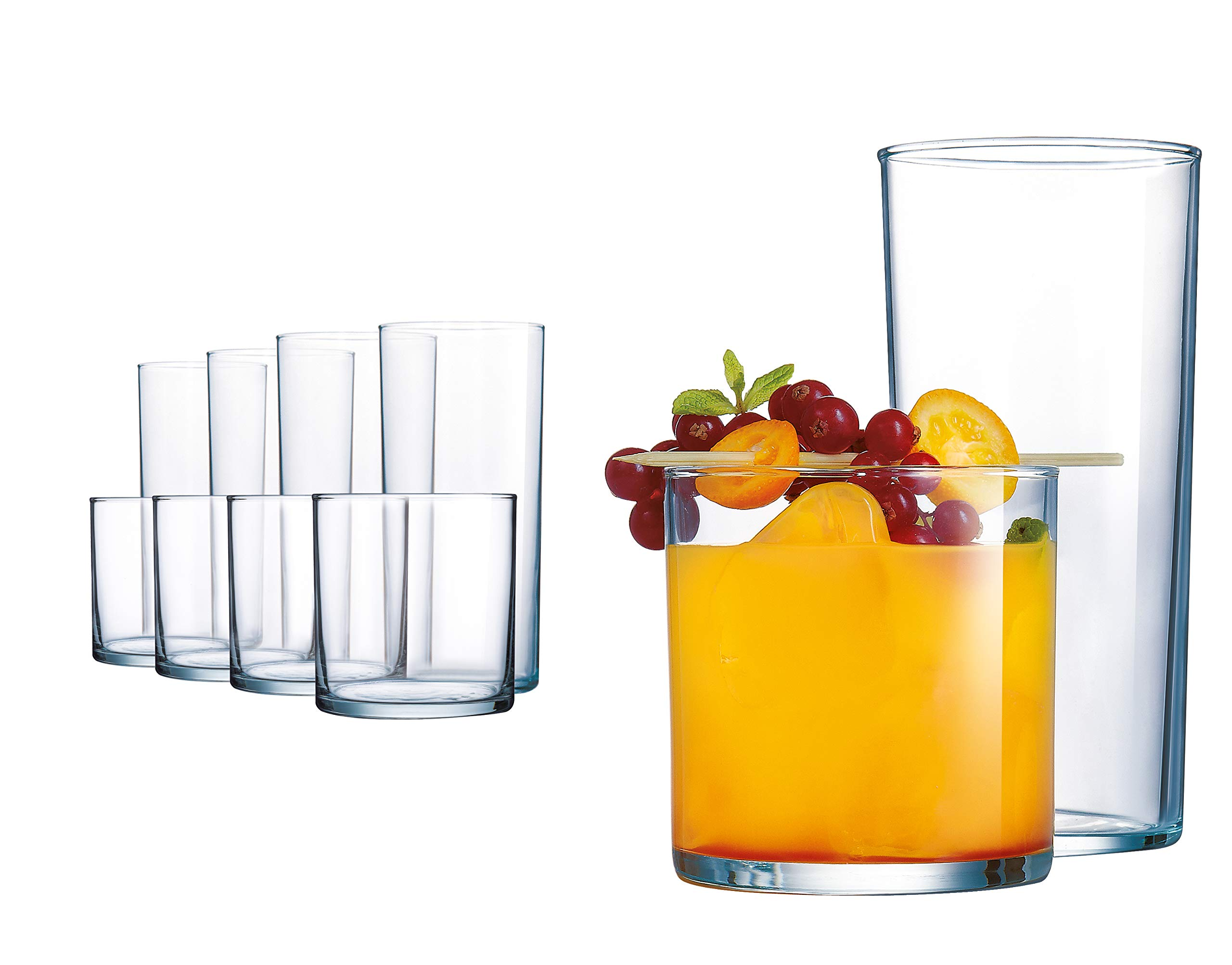 Elegant Drinking Glasses, 8 Highball Glasses (16oz) and 8 Rocks Glass (12oz), Set of 16 Durable Glass Cups - Lead-Free Clear Glassware Set by Le'raze