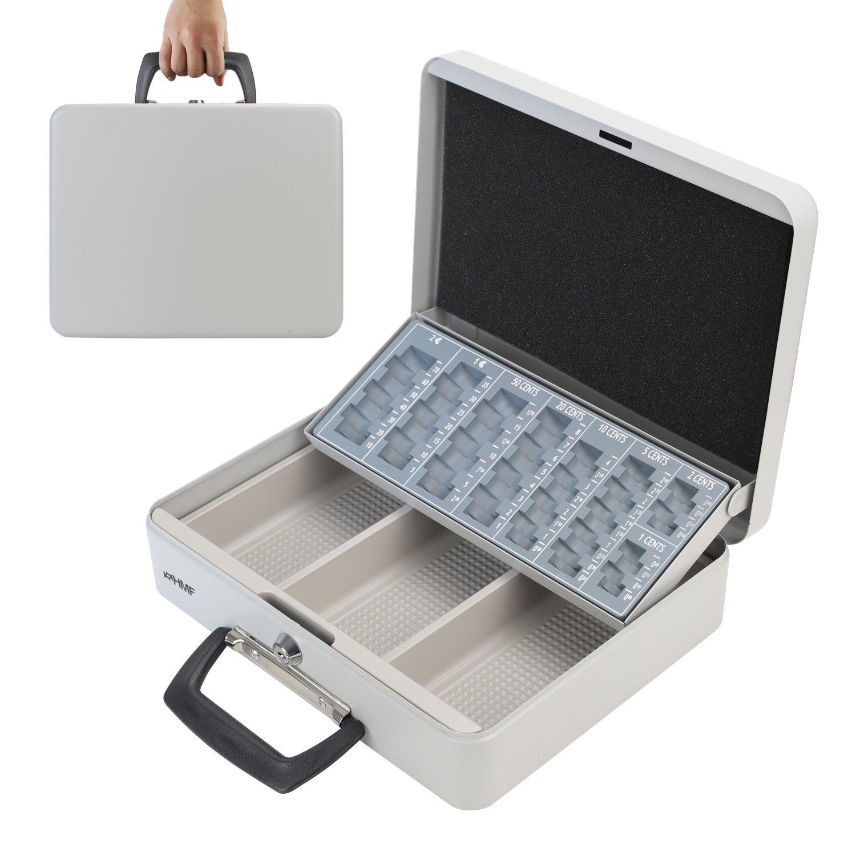 HMF 10016-07 Caja de caudales, para transportar y contar dinero 30 x 24 x 11 cm , gris claro