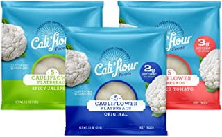 "product image for Cali'flour Foods Flatbreads (5"" Variety Pack, 24 Count) - Keto Friendly, Low Carb, Gluten Free 