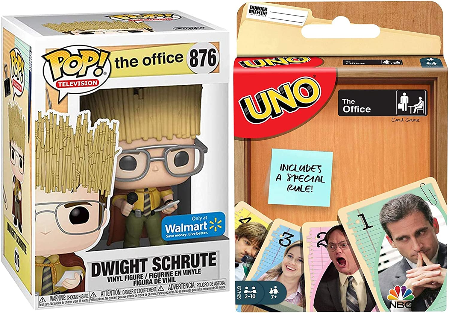 Dwight Pop! Exclusive Figure Schrute Vinyl All Hail The Hay King! Collectible Bundled with NBC Uno Dunder-Mifflin Office Matching Card Game 2 Items