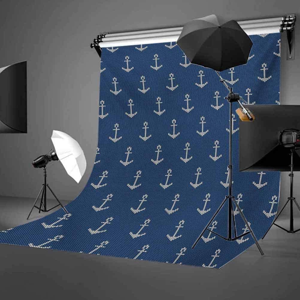 Anchor 10x12 FT Photography Backdrop Nordic Knitwear Theme Retro Scandinavian Winter Fashion Pattern Hipster Oceanic Background for Party Home Decor Outdoorsy Theme Vinyl Shoot Props Blue White