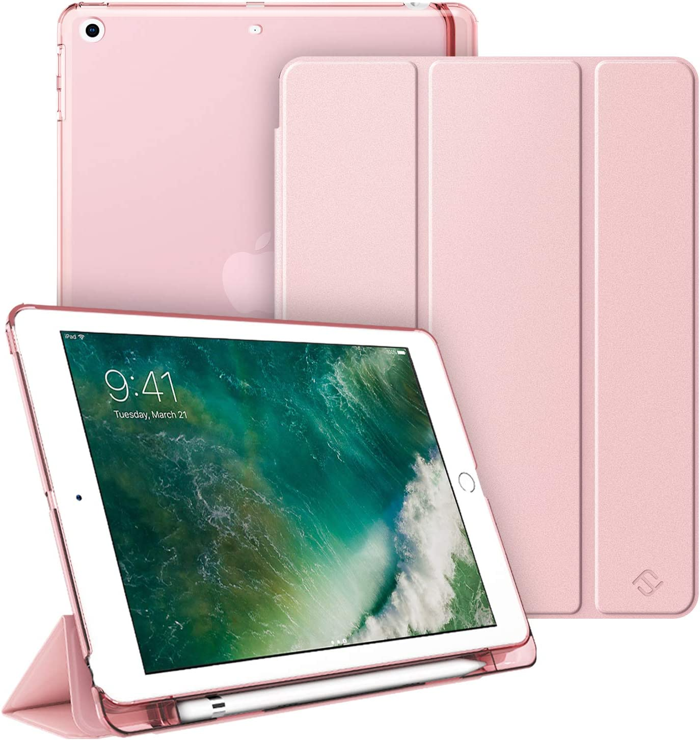 Fintie Case with Built-in Pencil Holder for iPad 9.7 Inch 2018 - Lightweight SlimShell Cover with Translucent Frosted Back, Supports Auto Wake/Sleep for iPad 6th Generation, Rose Gold