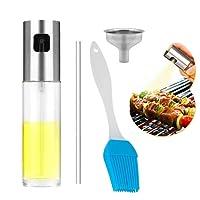 Amaza Nebulizzatore Olio da Cucina, Portable Spruzzatore Olio D'oliva con Spazzole & Imbuto, Oil Sprayer Dispenser per Pasta, Insalata, Padella, Griglia, Barbecue (100ml)