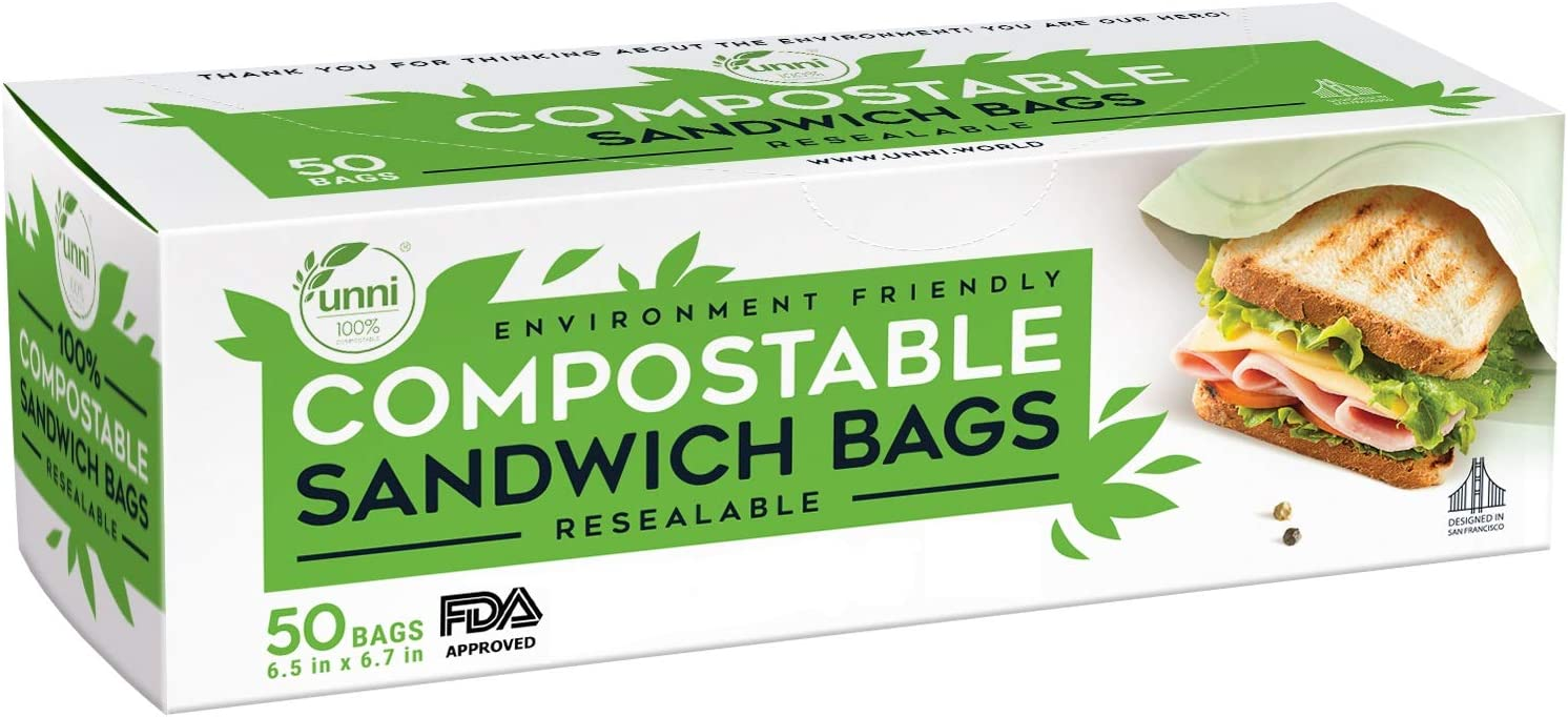 UNNI 100% Compostable Sandwich Bags, Resealable Compostable Food Storage Bags, 50 Count, 6.5 x 6.7 inches, Earth Friendly Highest ASTM D6400, US BPI and Europe OK Compost Certified, San Francisco