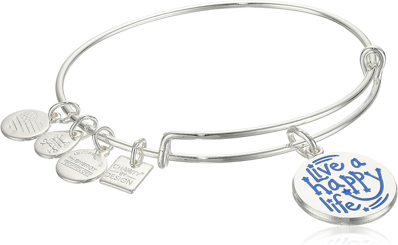 Live a Happy Life Bangle Bracelet Live a Happy Life Shiny Gold Bangle Bracelet CBD17LHLSG Alex and ANI Charity by Design