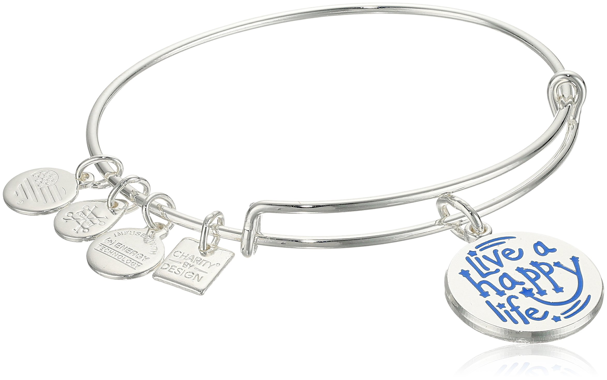 Alex and Ani Charity By Design, Live a Happy Life Shiny Silver Bangle Bracelet