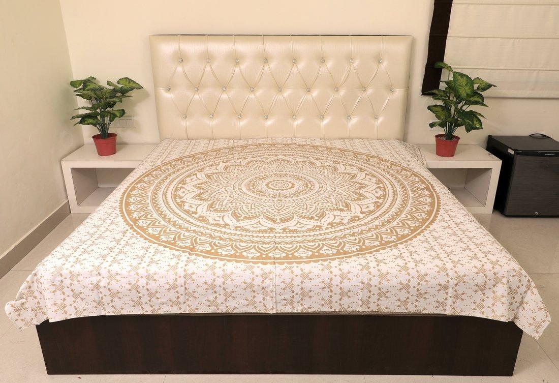 Sarjana Handicrafts Indian King Size Cotton Flat Bed Sheet Floral Printed Bedspread Bedding (Black)