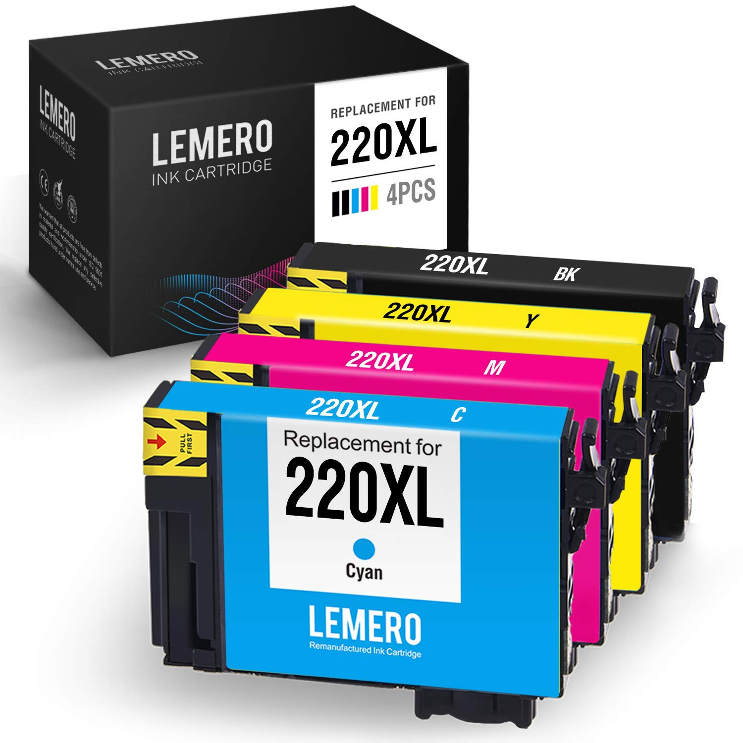 LEMERO Remanufactured Ink Cartridge Replacement for Epson 220 220XL - for Epson Workforce WF-2750 WF-2760 WF-2630 WF-2650 XP-420 XP-320 WF-2660 XP-424 (Black Cyan Magenta Yellow, 4 Pack)