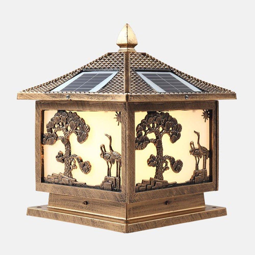 TZZ ソーラーコラムランプは、屋外防水ポストランプアルミ屋外ガーデンスーパー明るいヨーロッパの広場の家庭庭の照明(太陽エネルギー電源デュアルユース) (色 : ブロンズ)  ブロンズ B07F3XPC3S