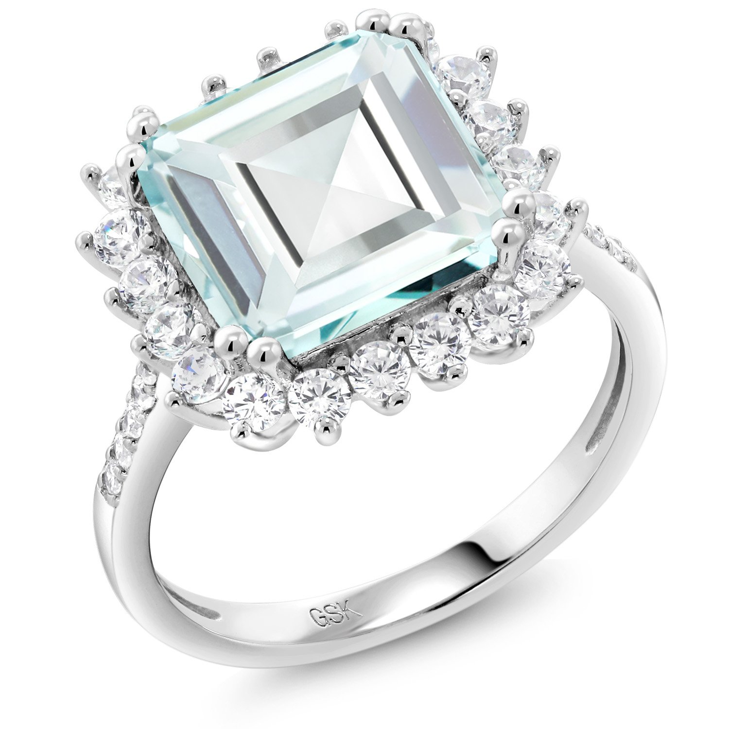 925 Sterling Silver Sky Blue Simulated Aquamarine Women's Ring 4.83 Ct Octagon Cut (Size 7)