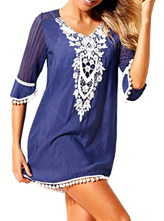 22f49432610 Samefar Womens Crochet Pom Pom Trim Beach Dress Tunic Cover up for Swimwear  Women Small Blue