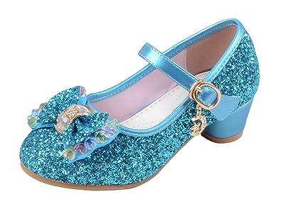 Eozy Kinder Mädchen Glitzer Ballerinas Prinzessin Schuhe mit Schleife  Festliche Schuhe für Party Hochzeit (26 632e562270