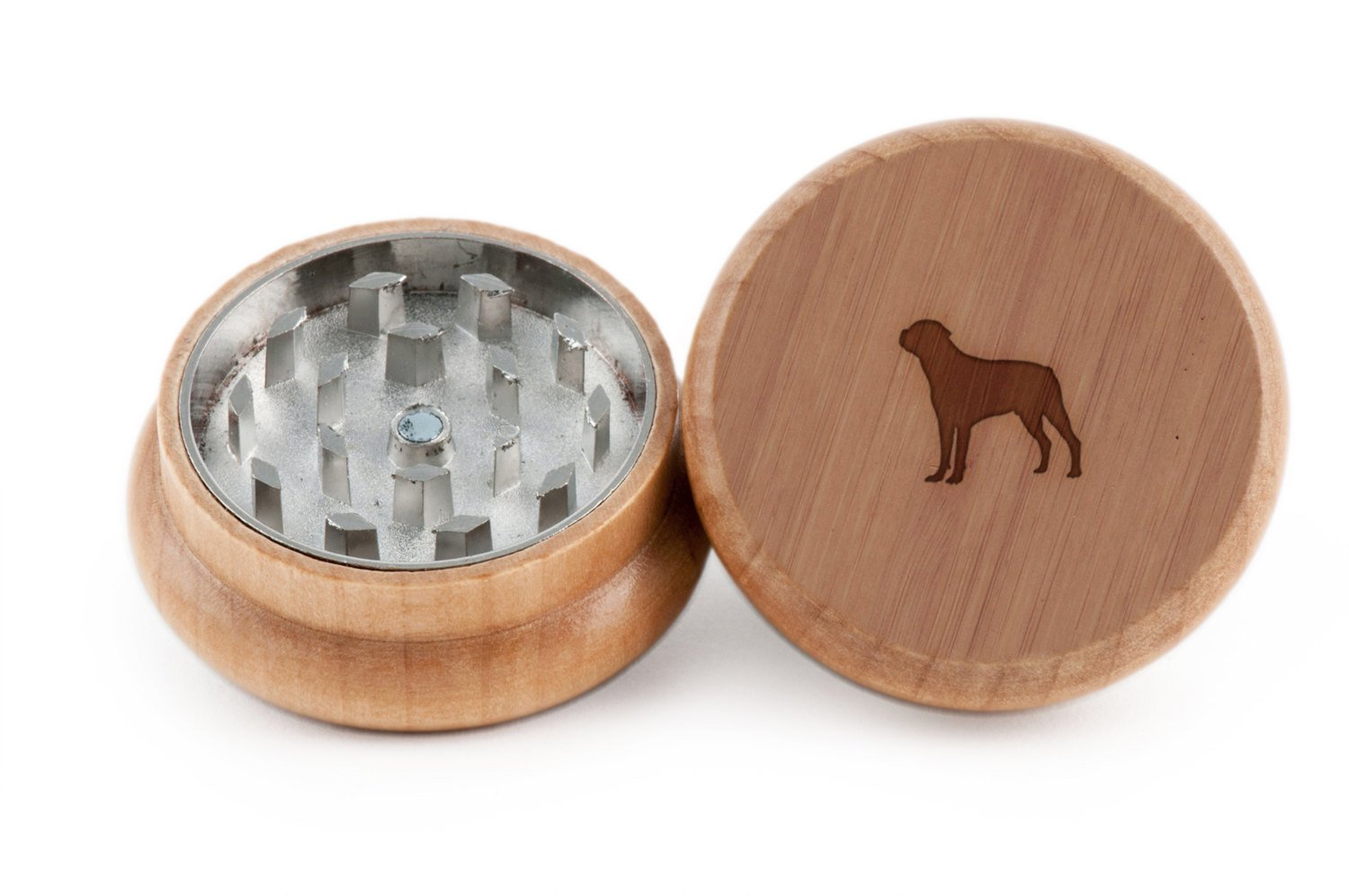 GRINDCANDY Spice And Herb Grinder - Laser Etched Rottweiler Design - Manual Oak Pepper Grinder