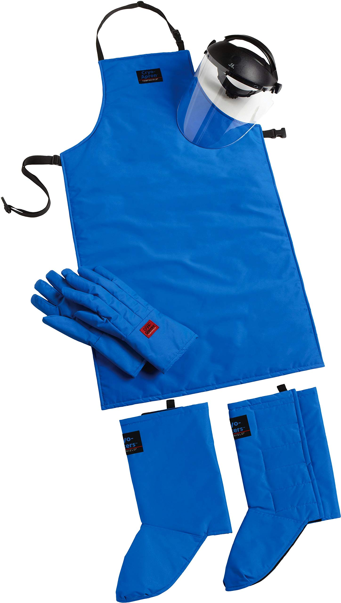 Cryo-Protection Safety Kit Plus: Waterproof Mid-Arm Cryo-Gloves, 42'' Cryo-Apron, Cryo-Gaiters, Cryo-Protection Face Shield (Small) (Small)