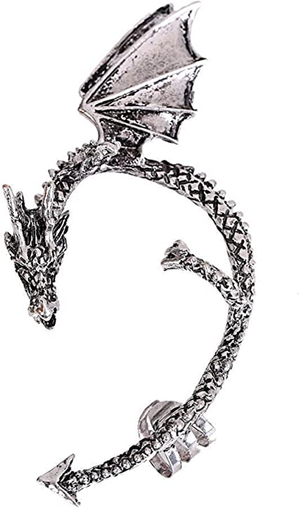Punk goth style black snake single ear cuff stud wrap earring