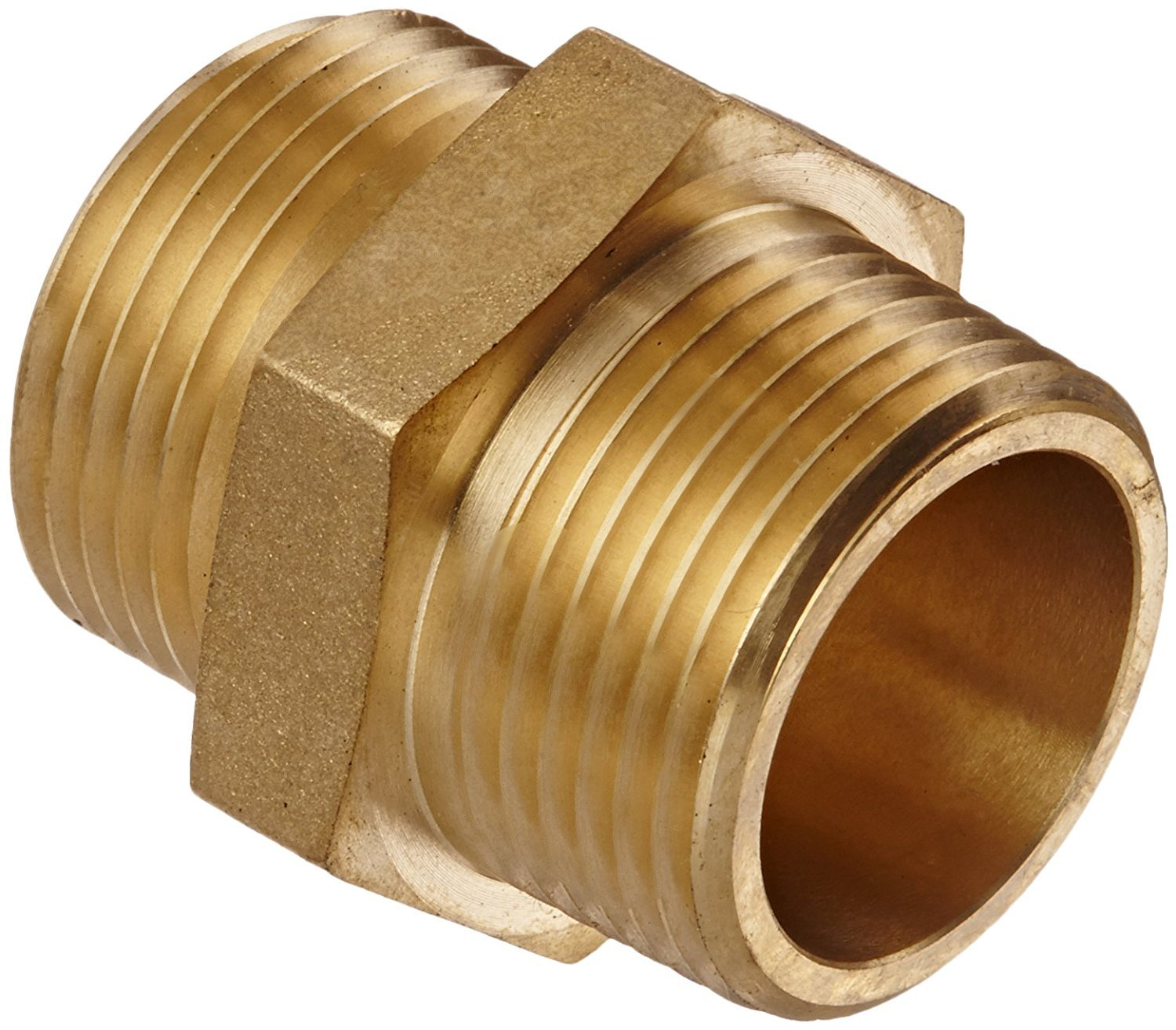 Campbell Fittings DMH1010F Double Male Hex Nipple, 1'' ID, Brass, 1'' NPT x 1'' NST by Campbell Fittings